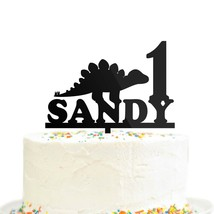 Custom Personalized Birthday Name Age Dinosaur Cake Topper Stegosaurus A... - $21.99