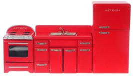 Dollhouse Miniature - 3 pcs set -1950's Red Kitchen Fridge, Sink, Oven -... - $69.99