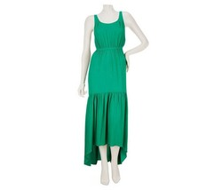 GF Geren Ford Sleek Sleeveless High-Low Maxi Dress Solid Emerald L NEW A... - $37.59