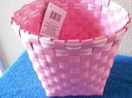 """NEW Home Essentials Pink White Vinyl Basket 7.87"""" Round CUTE - $7.49"""