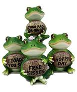 Ebros Friendly Froggers Assorted Collectible Frog Figurines Holding Pebble Signs - $26.95