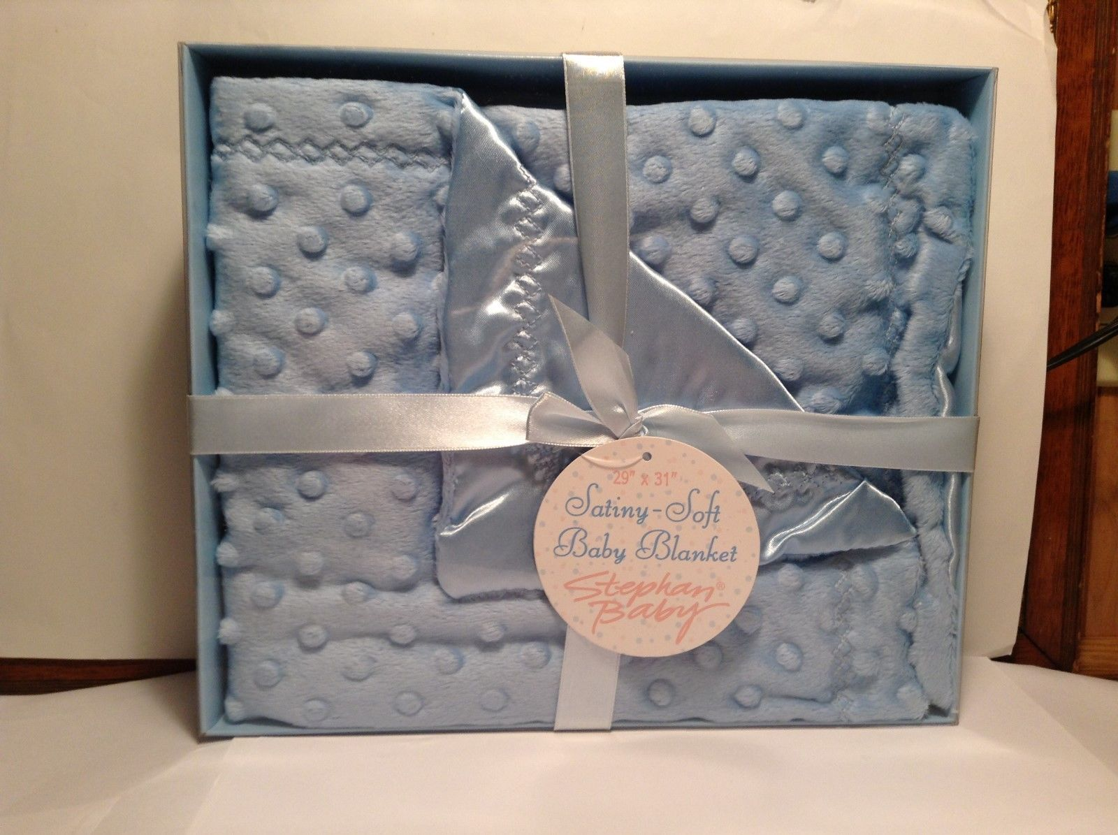 NEW Stephan Baby Satiny-Soft Baby Blue Blanket