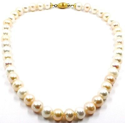 Necklace, Closing Yellow Gold 18k, Pearls Large, 10 mm, White, Fishing, Pink