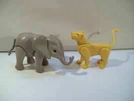 2 Playmobil Zoo Safari Action Figures Lioness & Baby Elephant - $12.69