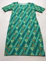 NWT Lularoe 2XL XXL Aqua Teal Tan Triangle Geometric Julia Dress Womens - $25.99