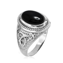 Sterling Silver Celtic Trinity Black Onyx Statement Ring - $69.99