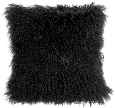 Pillow Decor - Mongolian Sheepskin Black Throw Pillow - $74.95