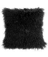 Pillow Decor - Mongolian Sheepskin Black Throw Pillow - $74.95