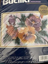 """Bucilla Perfect Pansies Needlepoint #4769 Gold Plated Needle New 7""""x 5"""" - $9.75"""