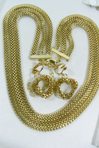 Gold Tone Metal Mesh three chans Neckalce & clip Earrings set - $30.89