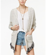 FREE PEOPLE Beige Love Me Tender Fringe Hooded Cardigan Sweater Small S ... - £66.68 GBP