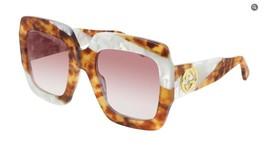 Gucci Women's Square Sunglasses GG0178S 008 Havana/Red Lens 54mm - $260.93