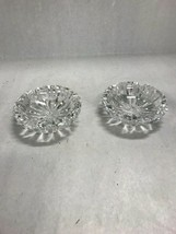 Vintage pair crystal ashtrays Waterford cut glass trinket candy round heavy - $40.09