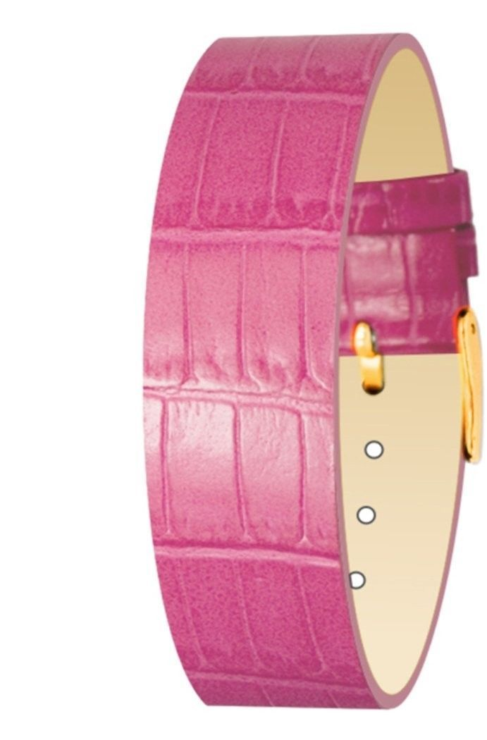 Primary image for Moog Paris Pink Calf Leather Bracelet for Women, Alligator Pattern, Pin Clasp, 1