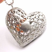 SILVER 925 NECKLACE, HEART CONVEX, SATIN, PERFORATED PENDANT, CHAIN BALLS image 3