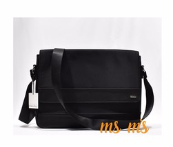 New With Tags Calvin Klein Leather / Cotton / Nylon Black Messenger Bag,... - $119.99