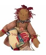 The Tattered Rabbit Farm I Love Mother Primitive Folk Art Cloth Doll Sig... - $65.09