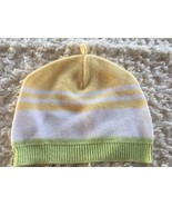 Baby Luxuries Knit Yellow White Green Baby Hat Cap 6-12 Months  - $3.50