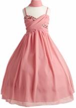 Flower Girl Dress All-Over Chiffon Criss-Cross Long Dress Blush JK 3556 - $63.35+