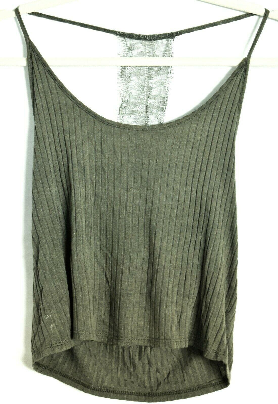 Fashion Nova Olive Green Lace Back Spaghetti Strap Cami Tank Top Size M