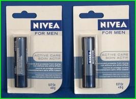 2 NIVEA for MEN Active Care LIP Balm Stick Shine-Free Protection 4.8g - $12.89