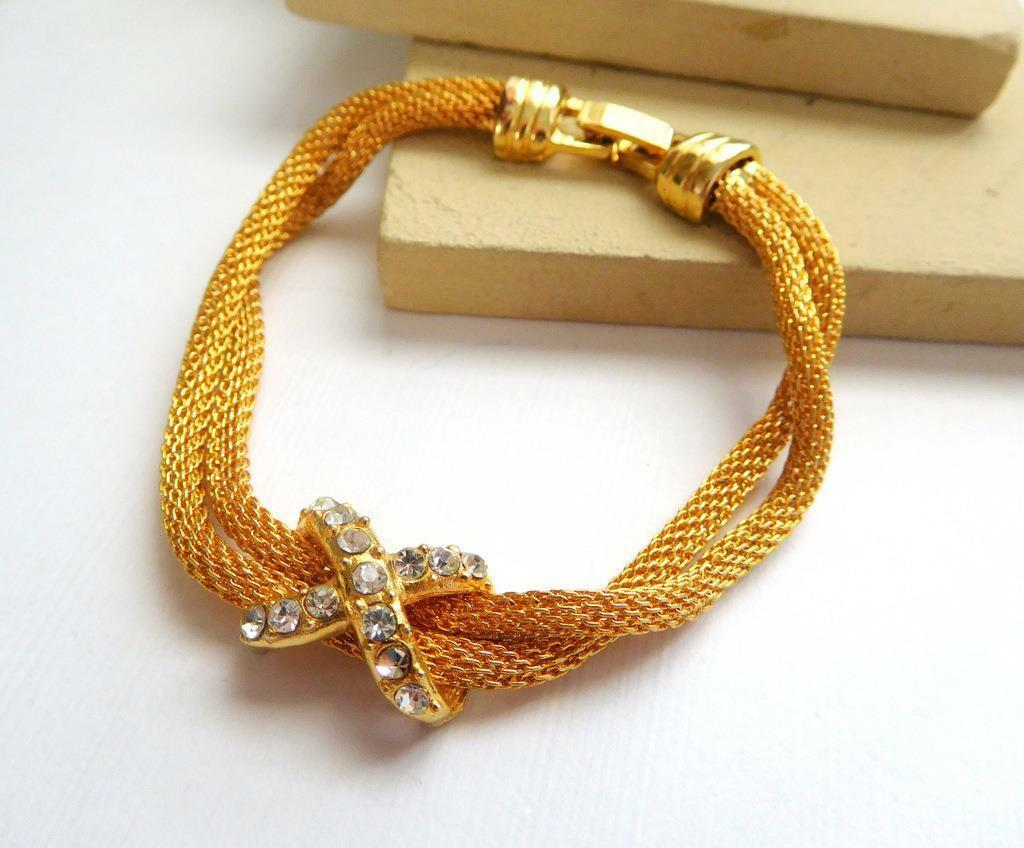 "Retro Yellow Gold Tone Double Mesh Chain Clear Rhinestone X 7 1/4"" Bracelet M18"