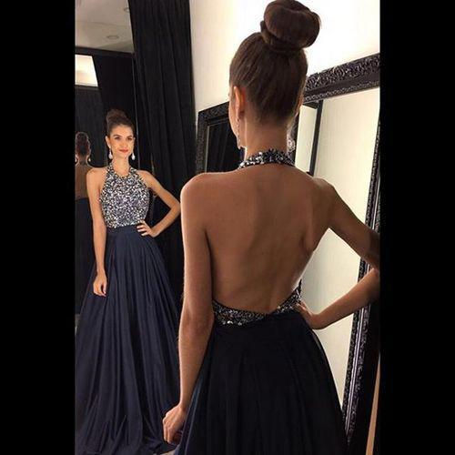 navy prom dress,formal Prom Dress,Long evening dress,charming evening dresses