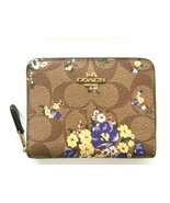 COACH 31955 Signature Leather Zip Around Small Wallet Brown Floral Gift ... - $64.50