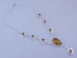 Citrine Silver Overlay Handmade Jewelry Necklace 19 Gr. F-510-33 - $16.19