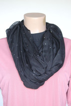 NEW Style & Co Black Silver Dots Women's Neck Scarf Infinity Loop size 3... - $8.90