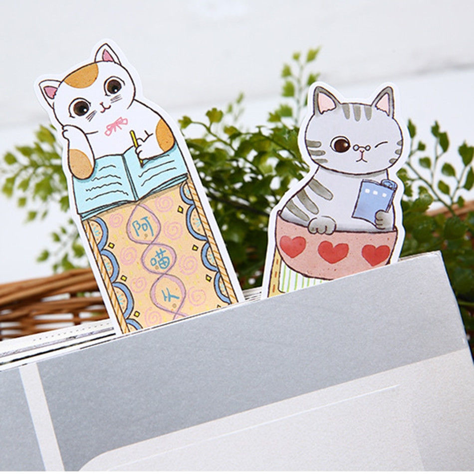 Fashion Sale Papeleria Bookmarks 30 Pcs For Cat In Book Paper Stationery Film