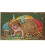 Vintage Postcard Easter Angel Cherub Hatches from Egg Fantasy 1910 Embossed - $9.89