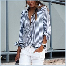 Causual Blue Stripe Cotton Shirt Button Down Long Cuff Sleeve Turn Down Collar