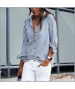 Causual Blue Stripe Cotton Shirt Button Down Long Cuff Sleeve Turn Down Collar  - $62.95