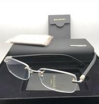 BVLGARI Eyeglasses 1086-T-K 394 Silver Gold Plated Black Rimless Titanium w/Wood