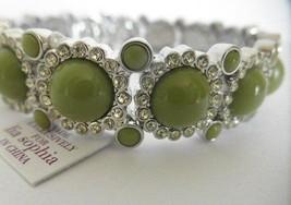 NWT! Lia Sophia Grass Sparkler Stretch Bracelet Bright Green And Rhinest... - $13.81