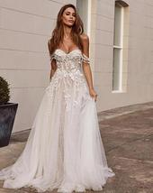 Stunning Off the Shoulder Lace Appliques Sleeveless Open Back Princess A Line Br image 2