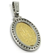 18K YELLOW WHITE GOLD ZIRCONIA MIRACULOUS BIG 27mm MEDAL VIRGIN MARY MADONNA image 3