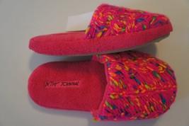 Betsey Johnson Slippers Sz S 5/6 Hot Pink Multi Plush Knit Yarn Detail B... - £15.34 GBP