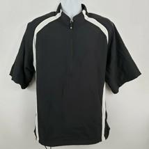 FootJoy Golf Jacket Short Sleeve Black Pullover Half Zip Windbreaker Rain Size L - $47.51