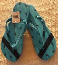 NEW POLO Ralph Lauren Hatefield rubber thong Turquoise/navy Logo flip fl... - $24.74