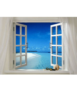 Beach Scene through a Window Home Decor Canvas Print. Framed or Unframed - $5.56+