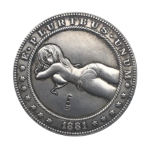 Hobo Nickel 1881-CC USA Morgan Dollar Sexy Girl Bikini COIN For Gift - $5.99