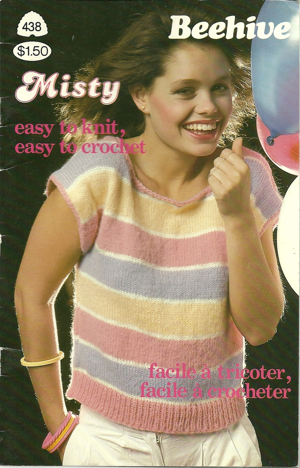 Beehive Misty Pattern Book 438 Knit Crochet Sweater Top Vest Collar Cardigan - $9.99