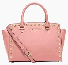 Michael Kors Selma Stud Pale Pink Saffiano Leather Crossbody Satchel Bag Nwt - $199.01