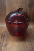 Anchor Hocking Red Apple Glass Canister/Cookie Jar And Lid Vintage - $15.00