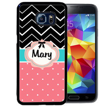 Personalized Rubber Case For Samsung S8 S7 S6 S5 Edge Plus Pink Polka Dot Stripe - $12.98