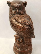 "Bronze Owl On A Branch Statue Heavyweight Figurine Sculpture 13"" Tall - $29.69"