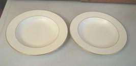 2 RARE Pfaltzgraff Bone Chine Soup Bowl Wide Rim Royale Made USA Cream & Gold - $18.80