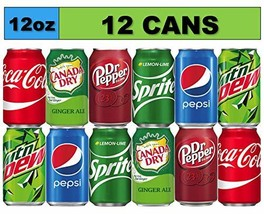 Soda Variety Pack 12 Cans Bundle of Coke, Pepsi Cola, Dr Pepper, Mountain Dew, S